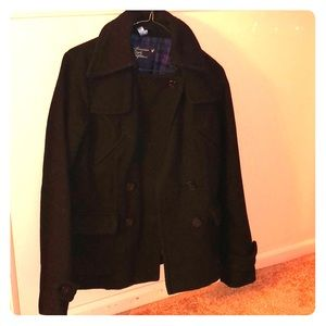 American Eagle black Wool Blend pea Coat
